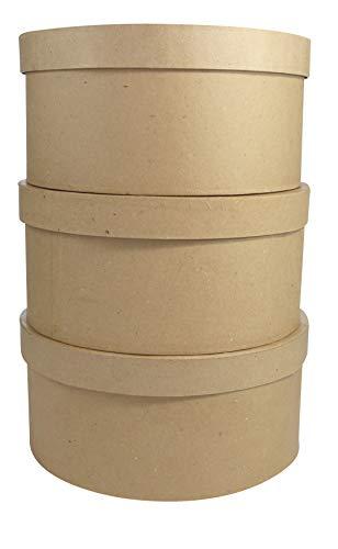 Décopatch BTS907C 3 Hutschachtel rund aus Pappmaché, H: 16 cm, zum Verzieren, perfekt für Ihre Wohndeko, Kartonbraun, 3er Pack