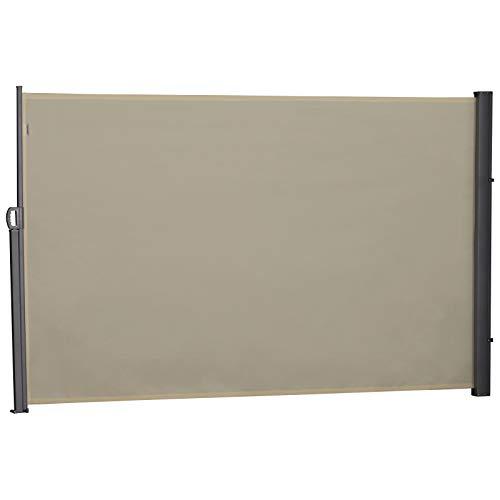 Outsunny Seitenmarkise, Sicht- und Sonnenschutz, Seitenrollo, Polyester, Beige, 3 x 1,8 m