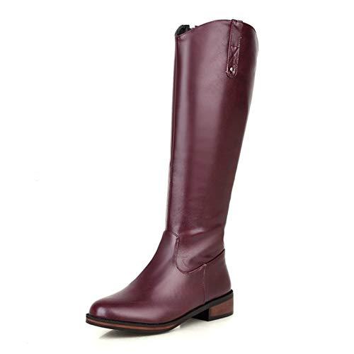 Damskie kozaki do kolan, kozaki na niskim obcasie, okrągłe palce na grubym obcasie z bocznym zamkiem Damskie buty rycerskie, jesienne i zimowe buty damskie PU (Color : Purple, Size : 41EU)