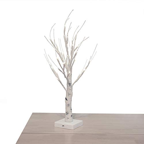 OBELON Silver Birch Twig Tree with Light for Christmas Easter Halloween Holiday Home Tabletop Bedroom Windowsill Decoration, Pre lit, 32 LED Lights, 1.8ft / 55cm High - White Birch