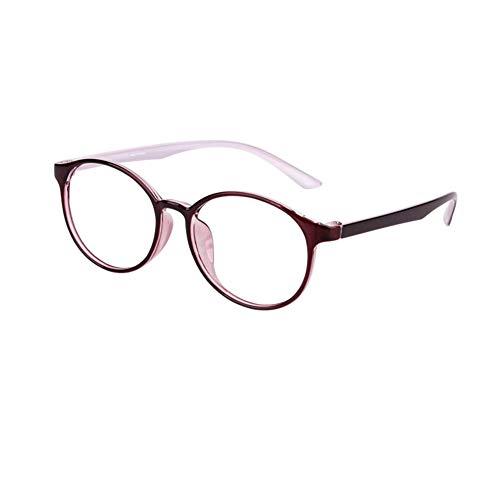HQMGLASSES Gafas de Lectura con Lente de Resina HD Anti-Azul para Mujer, Lente de Resina asférica 1,56,Lector de Marco TR90 Redonda Retro dioptría +1,0 a +3,0,Rojo,+3.0
