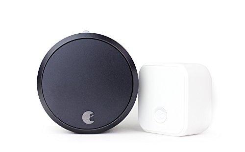 August Smart Lock Pro + Connect Wi-Fi Bridge, 3rd gen technology - Dark Gray, works with Alexa, HomeKit & Zwave