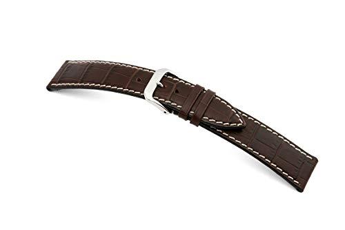 RIOS1931 Correa de reloj para hombre Panama mod.53, grano de cocodrilo, ancho 22 mm, longitud 114/82 mm, color marrón