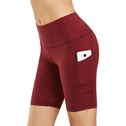 IceUnicorn Damen Sport Leggins Shorts Hohe Taille Tights 3/4 Yogahose Blickdichte Kurz Laufhos Fitness Hosen Jogginghose mit Taschen Short(1/2 Weinrot, XXL)