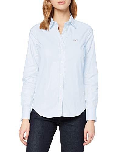 GANT Damen Stretch Oxford-Solid Shirt Bluse, Blau (Light Blue 455), 40