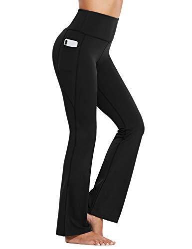 """BALEAF 29""""/32""""/35"""" Bootcut Yoga Pants for Women High Waisted Stretch Bootleg Casual Lounge Pants with Pockets Black Medium"""