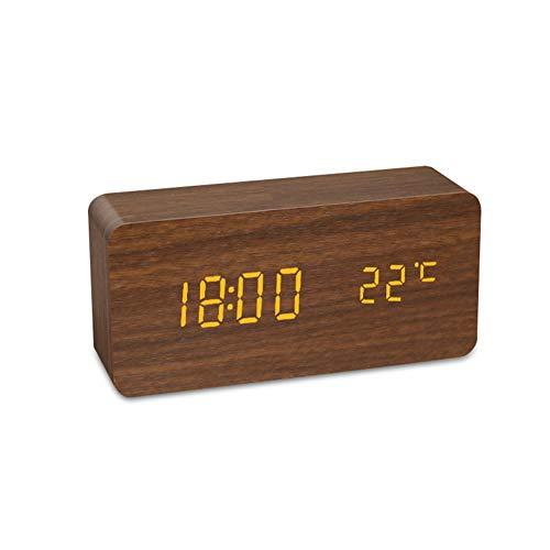 ThreeH Budzik drewniany zegar cyfrowy 3-poziomowy regulowana jasność LED wyświetlacz zegar biurkowy do sypialni biura brązowy