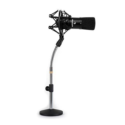 Auna CM001B Tischmikrofon Set Hochleistungs-Studio XLR Kondesnsator-Mikrofon mit Tischmikrofonstativ (+48V Phantomspeisung, 32mm Kapsel, Tasche, 5/8''-Adapter und Tischstativr) schwarz
