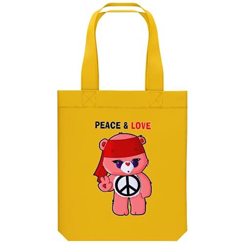 OKIWOKI Die Glücksbärchis Lustiges Shipper aus Bio-Baumwolle - Die Glücksbärchis - Peace and Love (Die Glücksbärchis Parodie signiert Hochwertiges Tote Bag - Ref : 342)