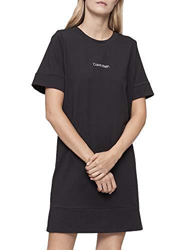 Calvin Klein Damen Reconsidered Comfort Short Sleeve Lounge Nightshirt Nachthemd, schwarz, Large