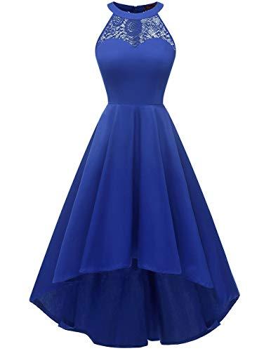 DRESSTELLS Damen 50er Vintage Rockabilly Kleid Neckholder Cocktailkleid Vokuhila Festliche Kleider für Hochzeit Royalblue 3XL