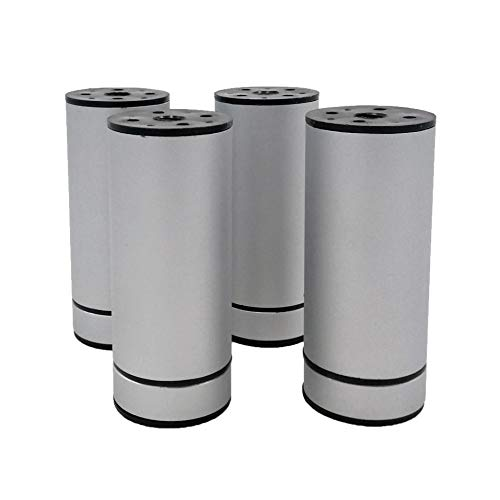 Tojo Rondo - Patas para muebles (4 unidades, 100 x 40 mm, con tornillos), aluminio anodizado