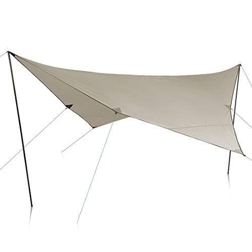 your GEAR Sonnensegel Atrani 3 x 3 m Sonnenschutz Wetterschutz Tarp 2 Aufstellstangen UV 50+ Schutz wasserdicht 5000 mm Beige Grau