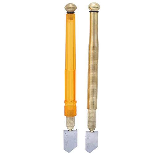 Glasschneider Set, 2 STÜCKE 2mm-12mm Golden Pencil Oil Feed Hartmetallspitze Glasschneider Schneidwerkzeug für Mosaik/Fliesen/Spiegelglasschneiden