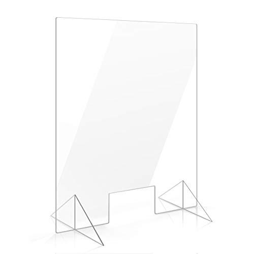 Apalis Spuckschutz Plexiglas Aufsteller 100cm x 75cm x 4mm mit Durchreiche Tischaufsatz glasklar