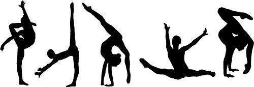 Online Design Frase Pared Vinilo Pegatina 5 Gimnastas (Gimnasio Bailarina Sport Gimnasta) - Negro