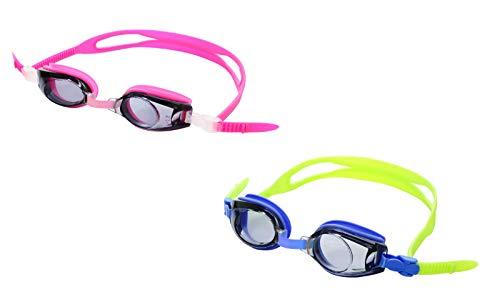 SPORTS WORLD VISION Optische korrigierende Schwimmbrillen Plus für Kinder |Minus & Plus Stärken Kurz -und Weitsichtig | Kinder Blau & Pink Farben erhältlich Blau + 6.00