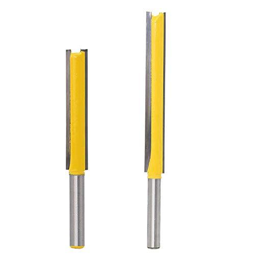 2 Pezzi fresa extra-lunga per scanalature 8mm gambo Punta Dritta Fresa per la lavorazione del legno frese per router bit
