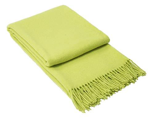 Nostra Woll Decke ZELANDIA | 100prozent Wolle | Sofadecke | Warme Decke | Ideal für Babys | Angesagte Decke | Apfelgrün-melierte Decke | 140x200 cm