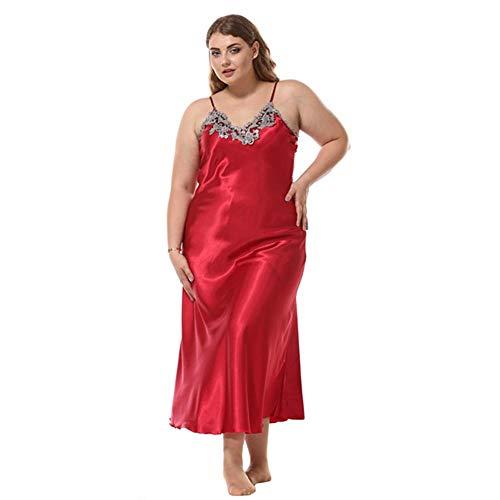 Schlafanzug Plus Size Frauen Nachtwäsche Ärmelloser Riemen Sexy Spitze Nachthemd Nachthemd Kunstseide V-Ausschnitt Nachtwäsche Robe Rot-L.