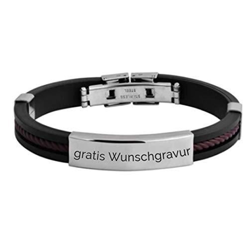 MyOwnName sportliches Armband mit gratis Gravur – Edelstahl+Kautschuk