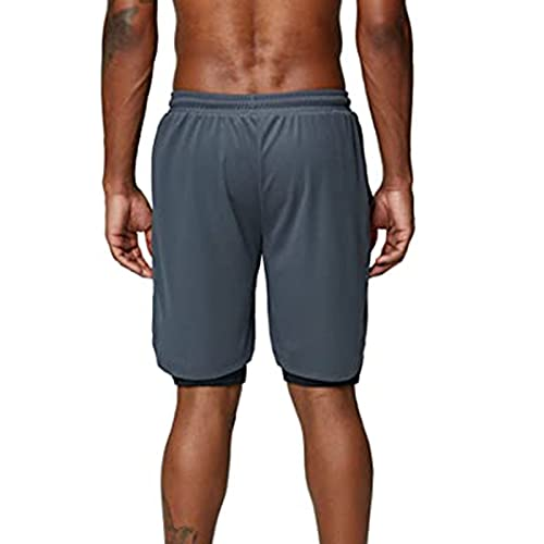 ZYAPCNGN Men's Casual Comfortable Cool Sports Shorts Quick Dry with Pockets Pant for Workout Running Training(1-Gray,Large)