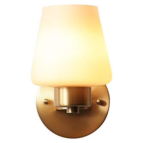 KFRSQ Luces LED de pared para interiores de pared de cobre lámpara de pared lámpara de pared dormitorio lámpara de pared simple pasillo de cristal blanco dedicado para el hogar