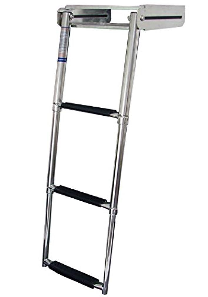 MARINE BOAT STAINLESS STEEL 3 STEP TELESCOPIC LADDER OVER PLATFORM