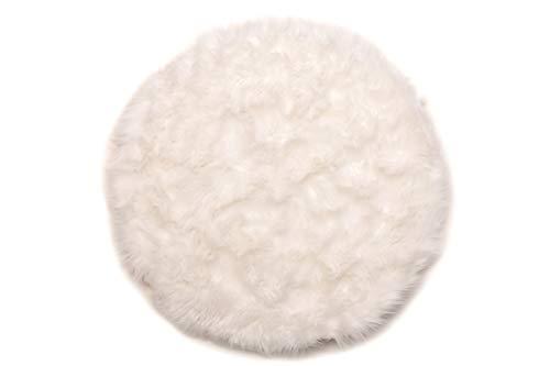 andiamo Teppich Kunstfell Ovium Schaffell Imitat für Wohnzimmer Schlafzimmer auf dem Stuhl, weiß, Acryl + Polyester, rund 80 cm