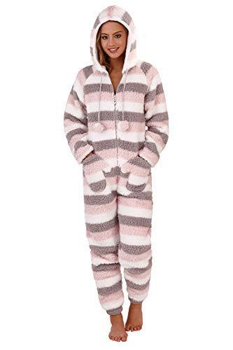 Dames Ultra-Morbido overall met capuchon onezee snuggle COMODO teddybeer Bunny roze of crème