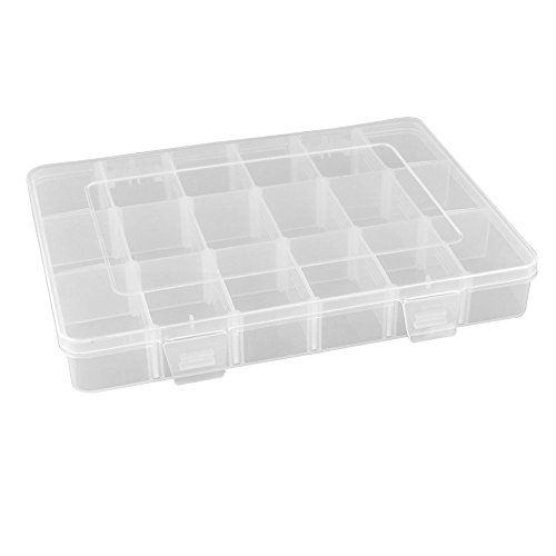 Leisial Boîte de Rangement Bijoux Transparente en Plastique 18 Compartiments Amovibles