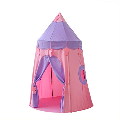 Tents Tipi Teepee, Indian for Boy Girl, Outdoor Yurt for Kids Play in Kindergarten Interior Castle (Color : Pink, Size : 110 * 110 * 150CM)