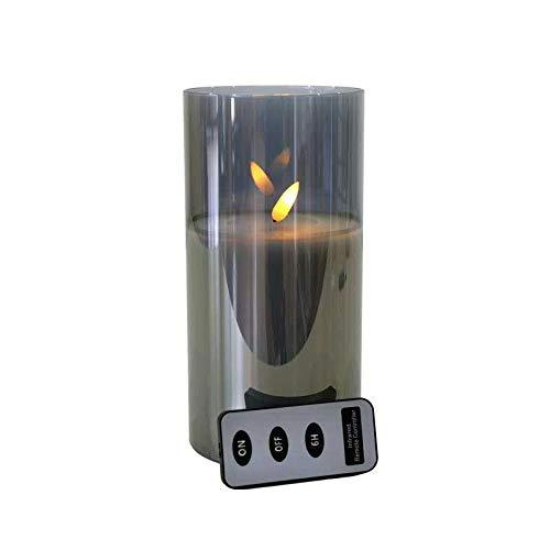 Hochwertige LED Kerze im Glas - mit Fernbedienung & Timer - ⌀ 10 cm - Realistische & Flackernde Flamme - Weihnachten Deko (Grau, Medium: 20 cm)