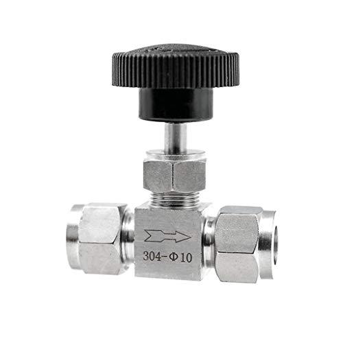 Válvula De Aguja Ajustable 3/8'1/2 '' Pulgada, Tubo Interruptor De Compresión De Cierre De Cocina 304 Set Grúa (Size : 10mm OD)