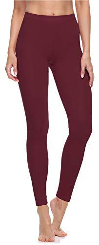 Merry Style Damen Lange Leggings aus Baumwolle MS10-198 (Wein, M)