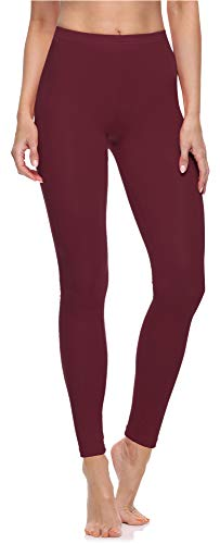 Merry Style Damen Lange Leggings aus Baumwolle MS10-198 (Wein, L)