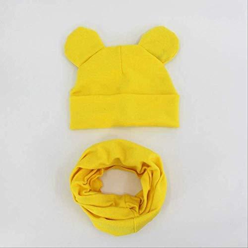 Primavera y otoño Sombrero para bebé Bufanda Sombrero de Color sólido Niño Niña Algodón Tejido Niño Guisantes Bufanda Amarillo Estilo 2
