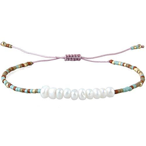 KELITCH Pulseras de Mujer niñas, Hombres, Concha, Perlas de Semillas japonesas, Pulseras de la Amistad, Pulsera de Cuerda Ajustable Hecha a Mano - V Colorido