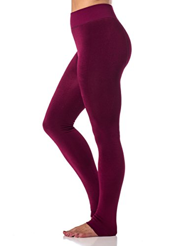 Gold Medal Womens warm winter fleece lined leggings-black-Lg/Xl