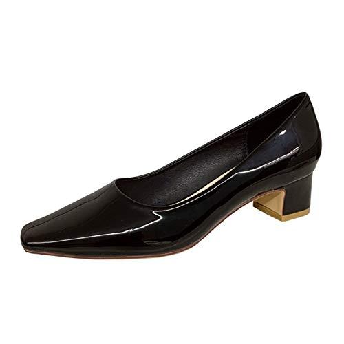 Zapatos de tacón Alto con Punta Cuadrada para Mujer, Zapatos de Corte con tacón de Bloque para Primavera y otoño, Zapatos de Trabajo con Punta Cerrada para Carrera en la Oficina