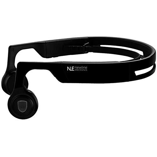 Newline Electronics - Auriculares inalámbricos Bluetooth de conducción ósea (Sonido HD Estéreo) Inalámbricos con Micrófono incopordado para iphone y Android - Protección de Tímpanos [Negro]