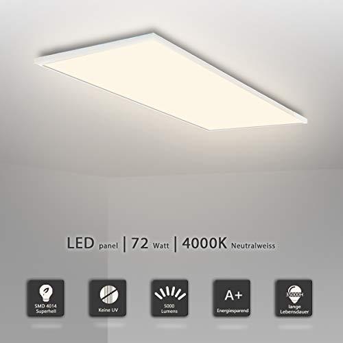 LED Panel Deckenlampe 120x60 Leuchten LED Deckenleuchte-Panel, Neutralweiß/72W/5000lm/4000K/Silberahmen Wandleuchte mit Trafo