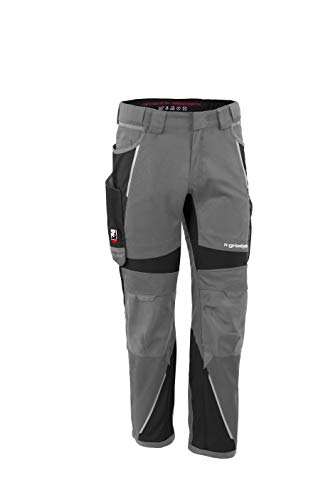 Grizzlyskin Bundhose Grau/Schwarz N56 - Unisex Workwear Arbeitshose für Männer und Damen mit vielen Taschen, Cordura-Schutzhose