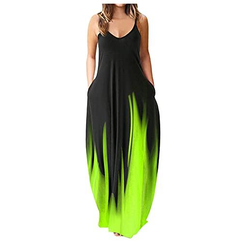 Tupenty Maxi Dresses for Women Summer Sleeveless V Neck Floral Tie Dye Plus Size Long Dress Loose Beach Party Sundress