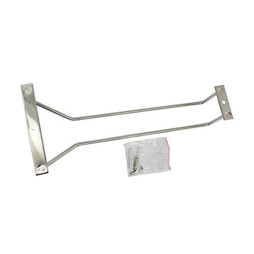 Abcsea 27 cm stainless steel wine glass holder rack, chrome wine glass holders under cabinet, 1 piece (1 row)
