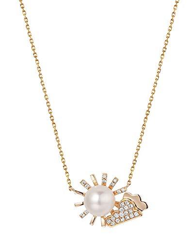 AtHomeShop Collar de oro rojo de 18 quilates para mujer, colgante de diamante blanco, cadena con forma de sol y nubes, pulido brillante, joya de oro auténtico con caja de joyas – oro rojo