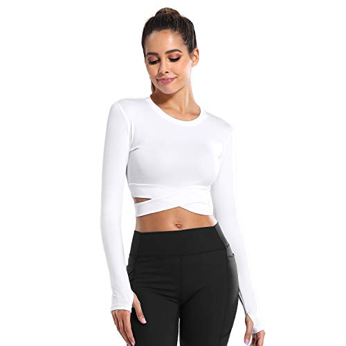 DREAM SLIM Women Long Sleeve Crop Tops Tummy Cross Crewneck Yoga Running Shirts Gym Workout Crop Tops with Thumb Holes (White Long, S)