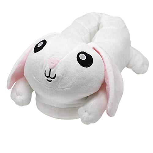 Close Up Hase/Bunny Plüsch-Hausschuhe für Erwachsene, Einheitsgröße, weiß
