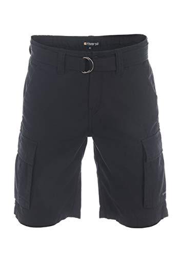 riverso Herren Cargo Shorts RIVJoel Kurze Hose Regular Fit Bermuda Sommer Short Gürtel 100% Baumwolle Schwarz w30, Größe:W 30, Farbe:Black (24000)