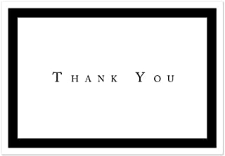 Formal Black Thank You Note Cards - 48 Cards & Envelopes - Great for Anniversary, Wedding, and Graduation Thank You
